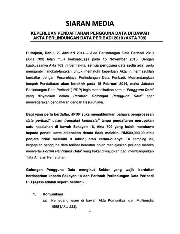 Press Releases Jabatan Perlindungan Data Peribadi